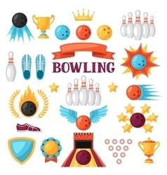Set of bowling game items objects for decoration vector