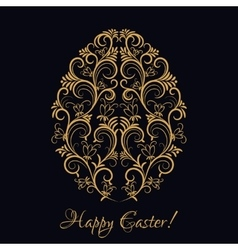 Easter egg with gold floral ornament over black vector