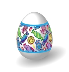 Easter egg with bright candy pattern vector