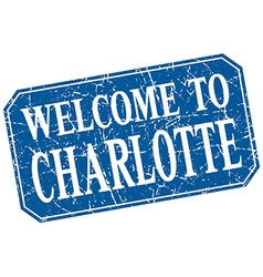 Welcome to charlotte blue square grunge stamp vector