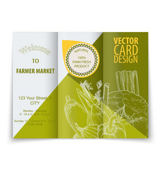 Organic food concept brochure and flyer template vector