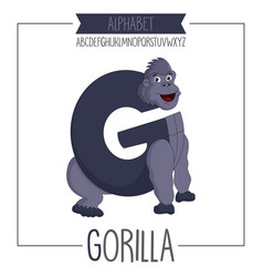 alphabet letter g and gorilla vector image vector image