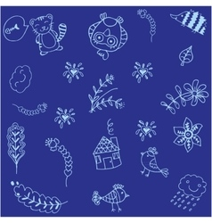 Blue bird doodle art vector