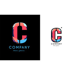 c blue red letter alphabet logo icon design vector image vector image