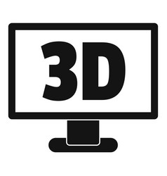 Computer monitor with 3d inscription icon simple vector