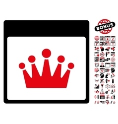 Crown calendar page flat icon with bonus vector