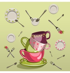 Cups with saucers forks and spoons vector