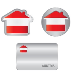 Home icon on the austrian flag vector