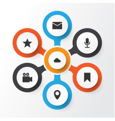 internet icons set collection of star video chat vector image vector image