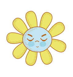 Kawaii angry flower with close eyes vector
