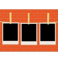 photos over brick wall vector image