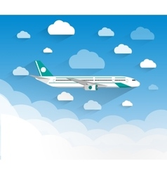 picture of a civilian plane with clouds vector image vector image