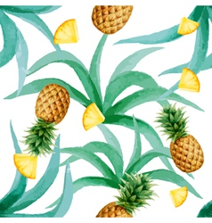 Pineapple and leaves seamless pattern watercolor vector