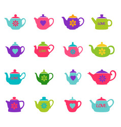 set of color teapots vector image vector image