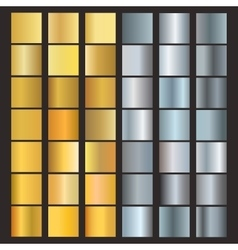 Set of silver and gold gradients vector image vector image
