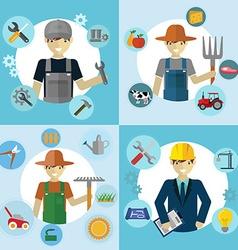 Set of workers mechanic gardener construction vector