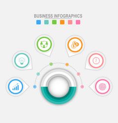 six options infographic around big circle vector image vector image