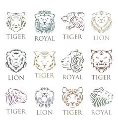 Tiger face head silhouette logo vector