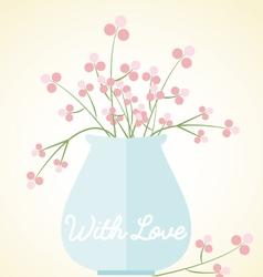 Vase flowers card with love mothers day valentines vector