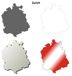 Zurich blank detailed outline map set vector image vector image