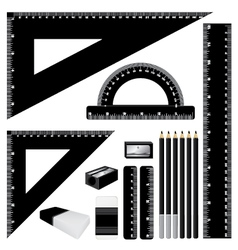 Drawing black color set black ruler and pencil vector