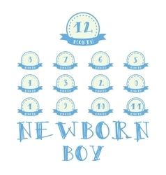 Monthly stickers with ribbon for photo Boy labels vector image