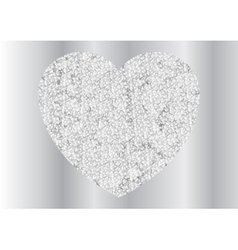 Grey silver sparkling polygonal heart design vector