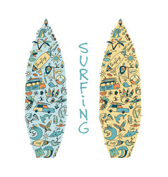 Surfboard sketch design made from surf icons set vector