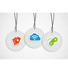 Hanging gaming badges set vector