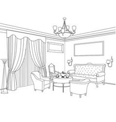 Home interior furniture sofa armchair table vector