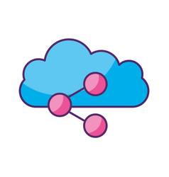 cloud computing with share symbol isolated icon vector image