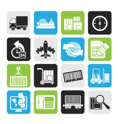 Silhouette shipping and logistics icons vector image