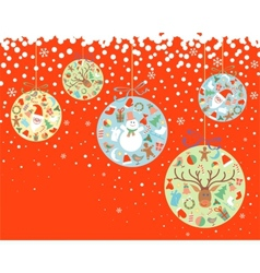 New year and christmas balls with decorations vector