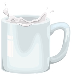 Cows milk splashing in white mug vector