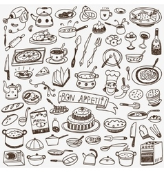 Cookery food doodles vector image