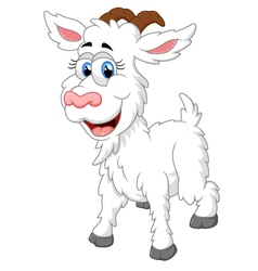 Cartoon happy animal goat vector
