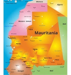 Color map of mauritania country vector