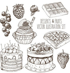 Hand Drawn Dessert Set vector image