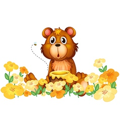 A bear with a honey at the garden vector image vector image