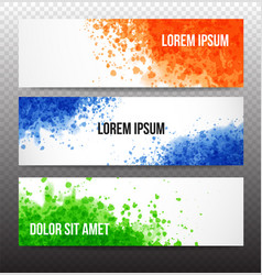 Banners with bright grunge splashes on realistic vector