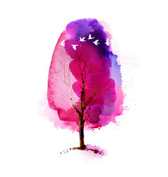 Blossoming spring watercolor pink tree and flock vector