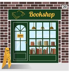 Bookshop building facade of brown brick vector