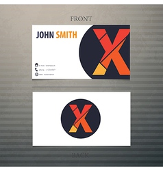 Business card template letter X vector image vector image