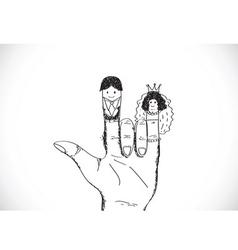 Cartoon hand drawn wedding couple wedding idea des vector