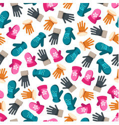 Colorful winter mittens seamless pattern vector