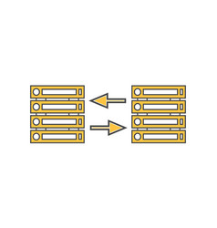 Computer server network linear icon vector