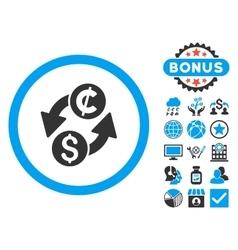 Dollar cent exchange flat icon with bonus vector