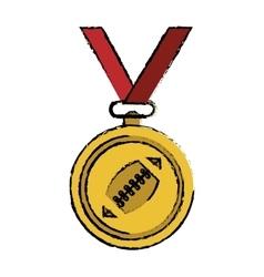 Drawing sport medal ribbon american football vector
