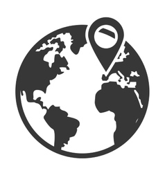 earth globe with gps pin icon vector image