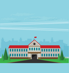 flat of school building for back to school vector image vector image